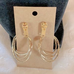 💐5/25 zipper circle layered dangle hoop earrings